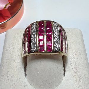 1.68ctw 8Row Lab Ruby & CZ 925/14Kt Band Ring14146